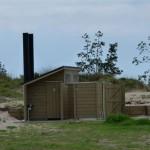 Die Toiletten und Duschen auf dem Campingplatz in Uretiti.